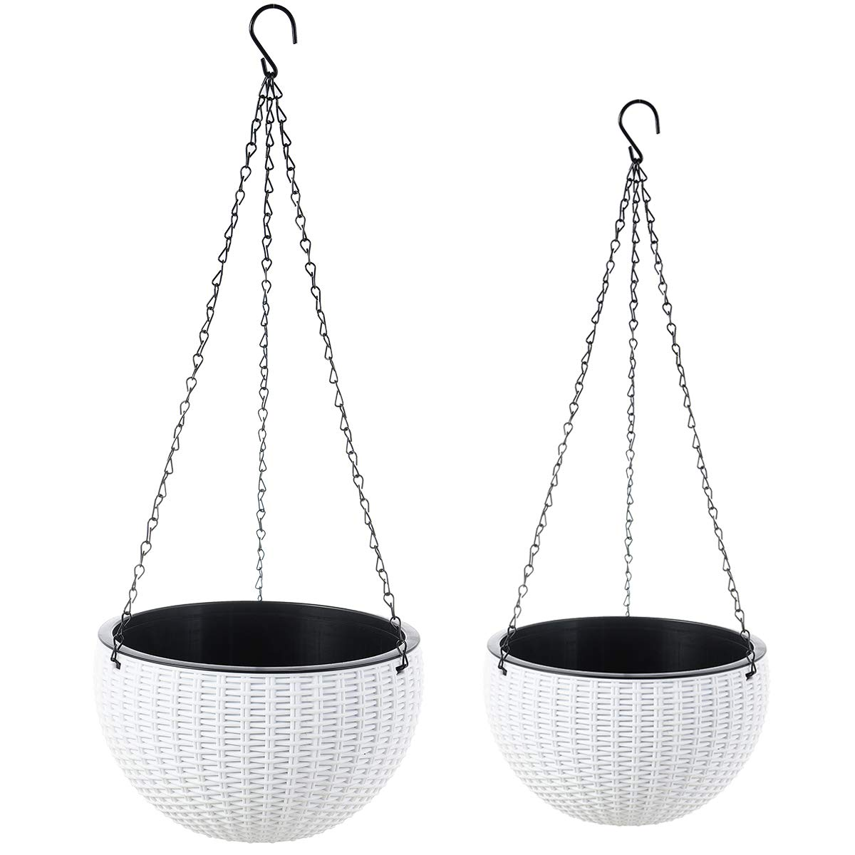 Foraineam 2-Pack Dual-pots Design Hanging Basket Planters Self-Watering Indoor Outdoor Plant Flower Hanging Pots with Drainer and Chain, 2 Size Assorted White