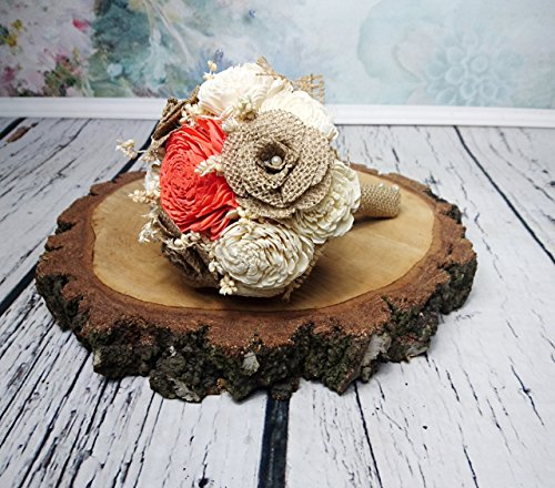 Small Burlap Sola Flowers Bouquet Coral Ivory Brown