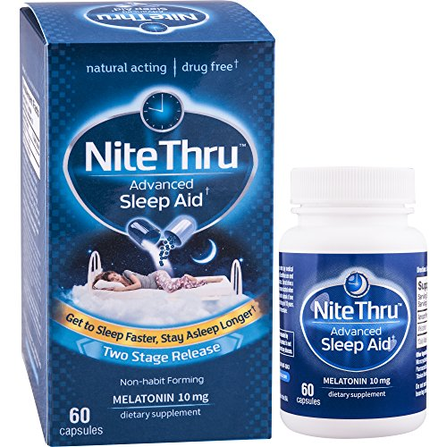 NiteThru Advanced Sleep Aid, 60 Ct, Non-habit forming, Melatonin Dietary Supplement