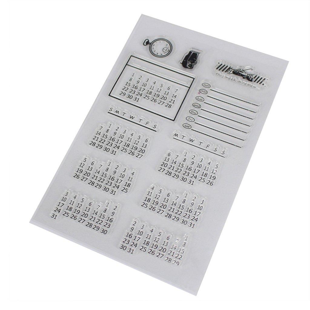 JAGENIE Calendar DIY Silicone Clear Rubber Stamp Sheet Scrapbooking Album Craft Decor