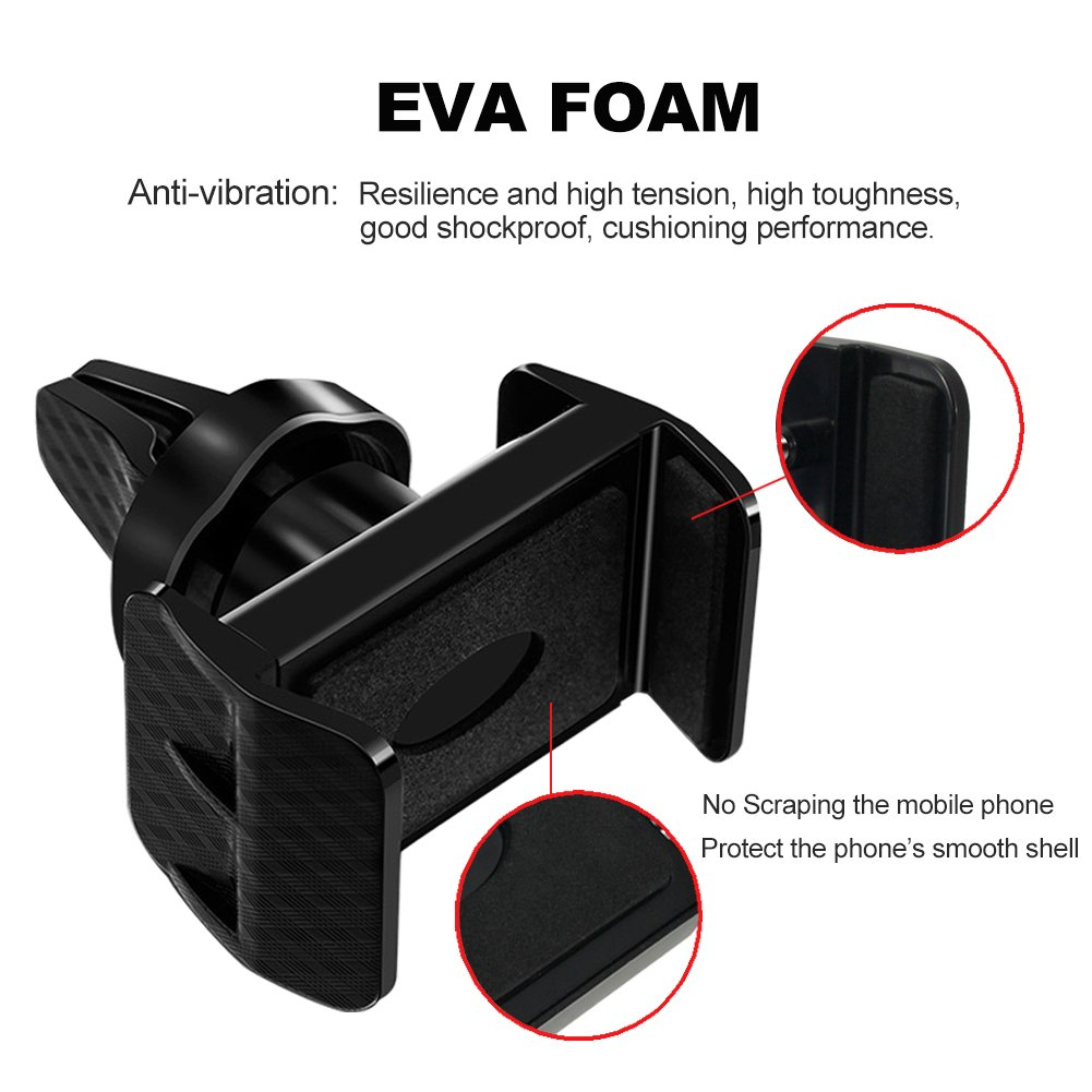 Air Vent Car Mount Phone Holder ETopLike Universal 360 Degree Rotation Car Mount Phone Cradle with Adjustable Grips for iPhone Samsung Nokia HTC and More