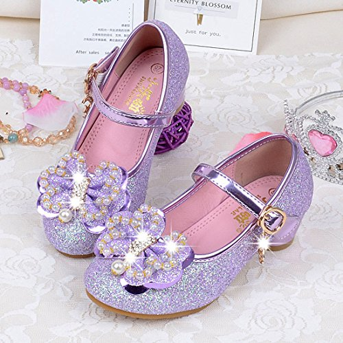 Cool&D Mädchen Sandalen Frozen Schuhe Prinzessin Sandalen Absatz-Schuhe Oxford Sohlen Sandalette mit Glitzerpailletten Lila