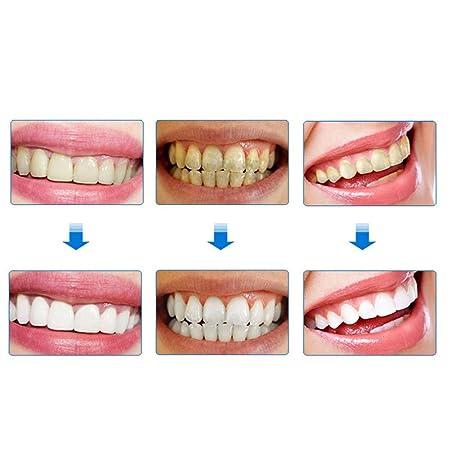 Blanqueamiento de dientes naturales, polvo de dientes de carbón de bambú activado negro + cepillo de dientes de bambú 100% natural Eliminar manchas de ...
