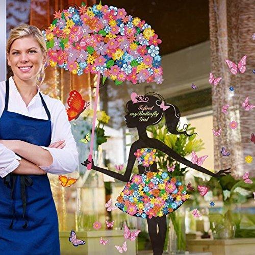 La flor de mariposa eDealMax paraguas chica extraíble Inicio del arte etiqueta de la pared del vinilo de Mural para la muchacha de dormitorio habitación ...