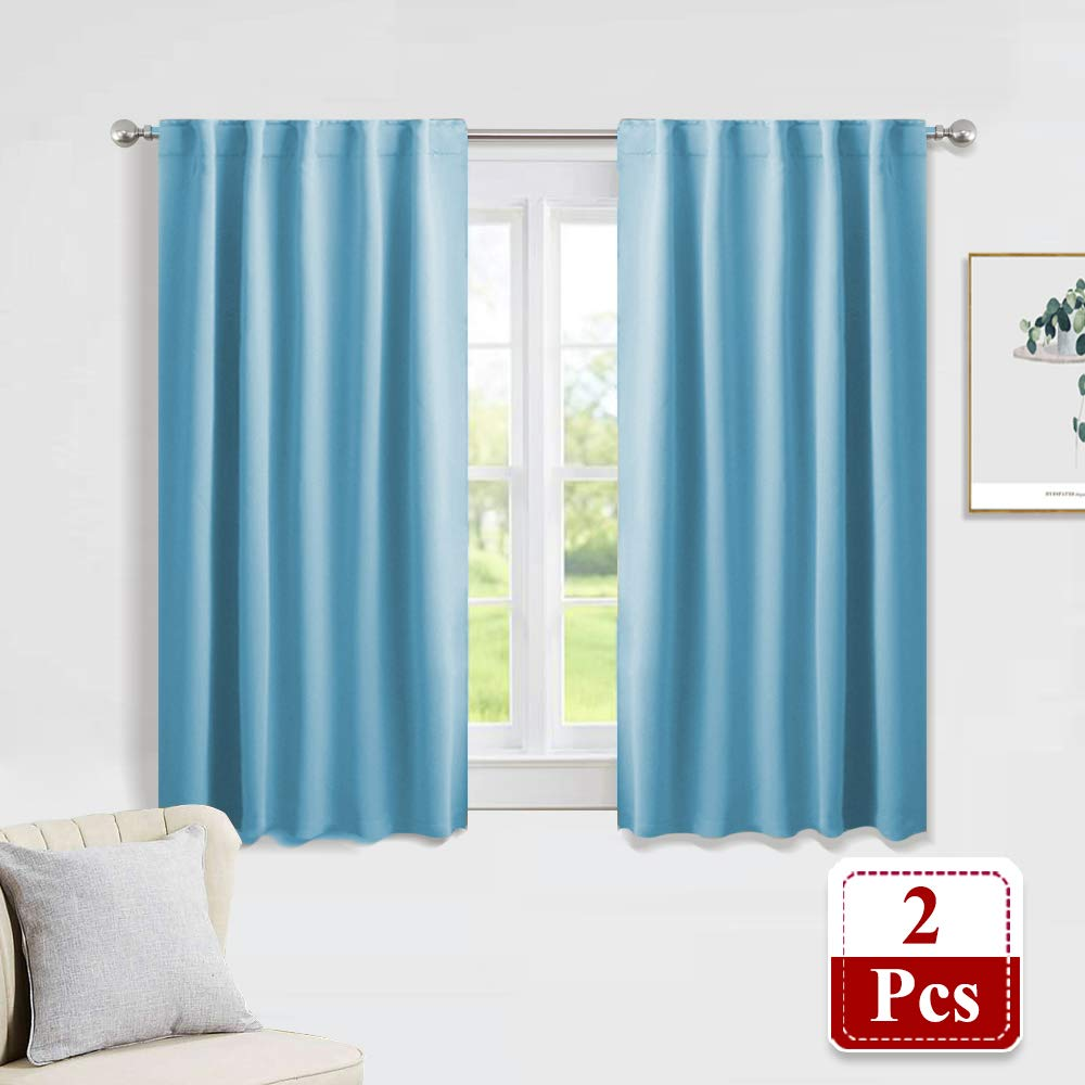 "PONY DANCE Window Treatments Drapes - Kitchen Curtains Home Decorative Back Tab/Rod Pocket Blackout Curtain Panels Room Darkening Home Fashion for Living Room, 42"" W x 45"" L, Light Blue, 1 Pair"