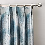 ChadMade Blue Leaves Print Curtain 120″ W x 102″ L, Pinch Pleated Blackout Lining Darpes Panel For Bedroom Living Room Hotel Restaurant (1 Panel) Review