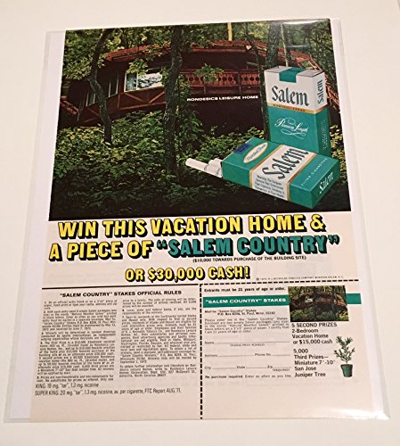 1972 Salem Cigarettes Rondesics Leisure Home Sweepstakes Magazine Print Advertisement