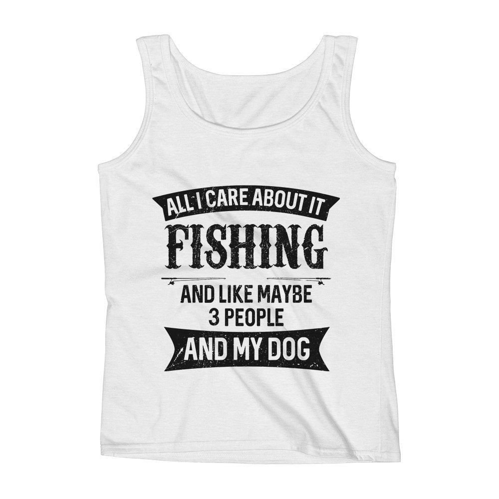 Mad Over Shirts All I Care About It Fishing and Like Maybe 3 People and My Dog Unisex Premium Tank Top
