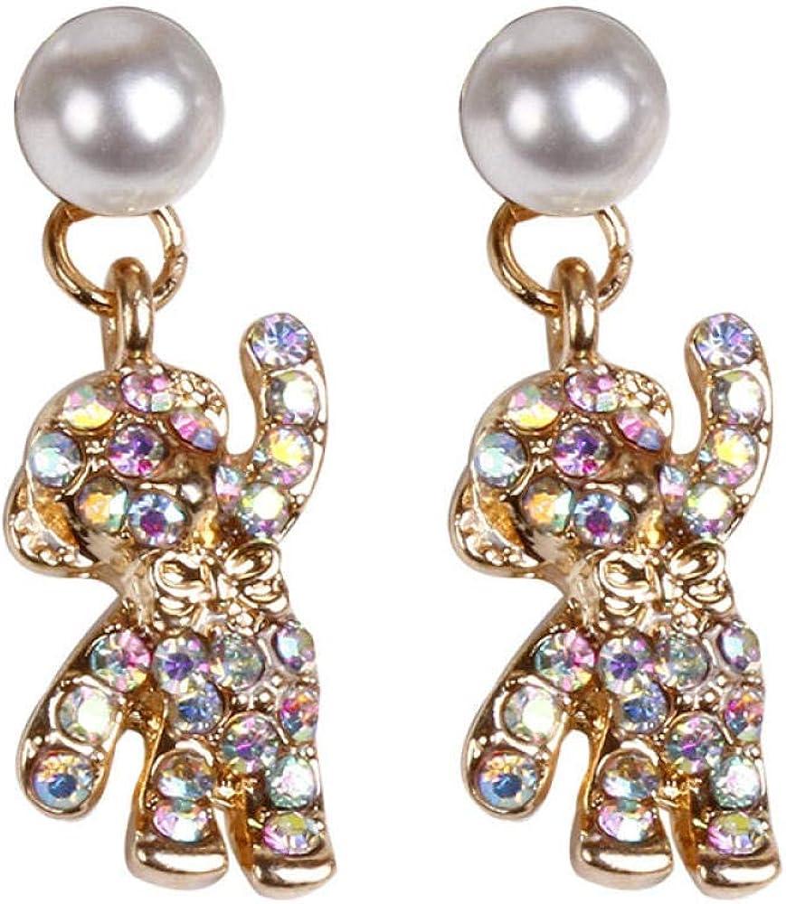 Pendientes De Aguja De Plata 925 Pendientes De Diamantes De Imitación Dulces Lindos Pendientes De Oso De Diamantes De Imitación Femeninos Pendientes De Perlas