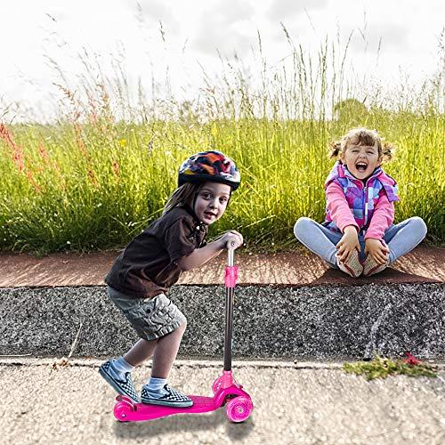 Yuanj Monopattino per Bambini, Scooter a 3 Ruote con Ruote Lampeggianti in, piegarsi per sterzare, Monopattino con 4 Altezze Regolabili, di con Freno di Sicurezza Posteriore - Rosa
