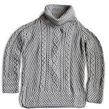 Carraig Donn Ladies 100% Merino Wool Vented Roll Neck Jumper, Grey Colour