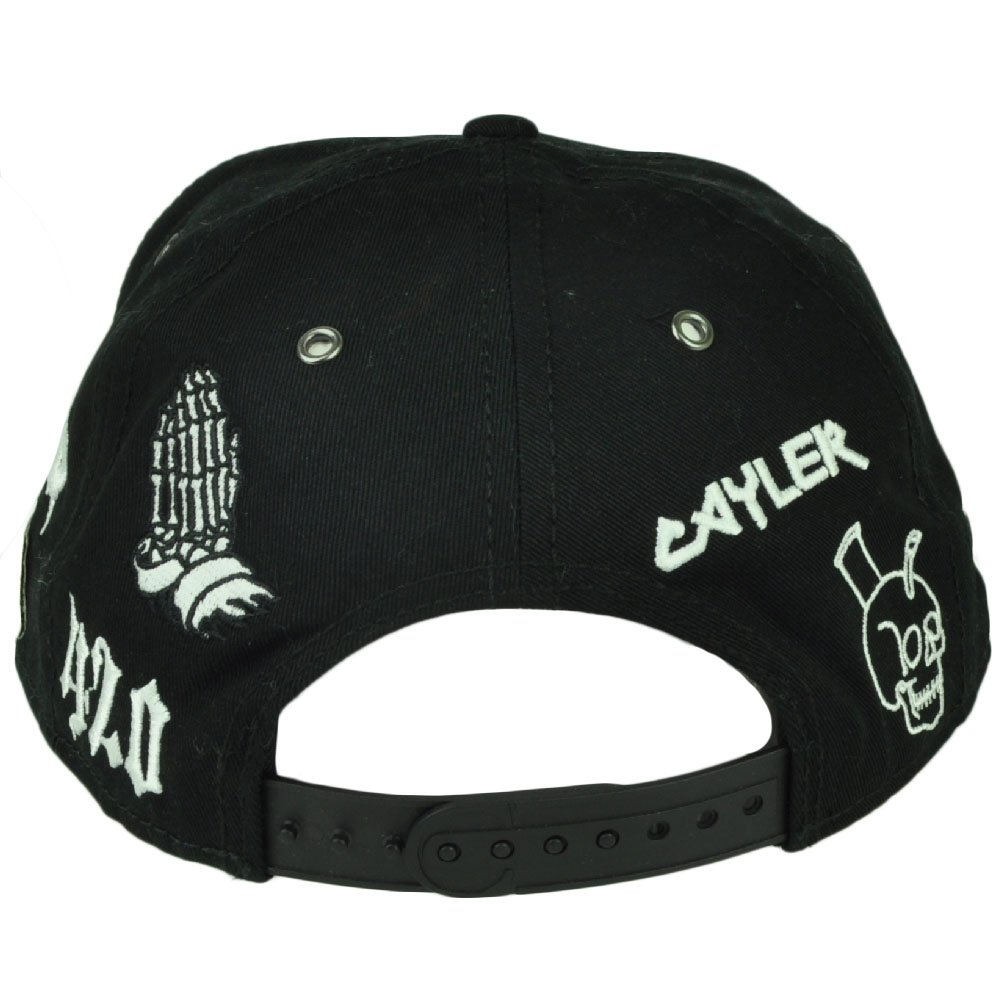 5bb96793010 Cayler and Sons Haze 420 Faded Snapback Flat Bill Black White Hat Cap  Marijuana  Amazon.co.uk  Clothing