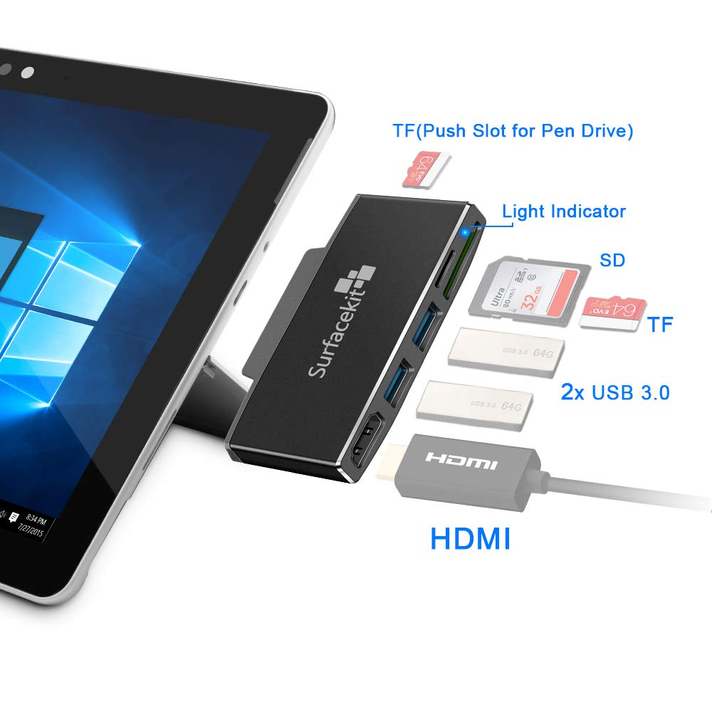 2 USB 3.0 High Transmission Rate SD//Micro SD card reader and TF Slot for Pen Drive Memory Card Reader for Surface Go Surfacekit Microsoft Surface Go Hub with HDMI Support up to 4K//2K@30Hz