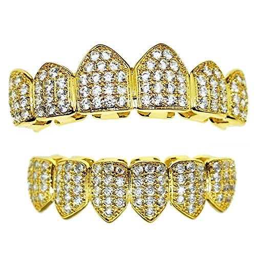 18K Gold Plated Grillz Set CZ Cubic Zirconia Micro Pave Bling Teeth Top & Bottom Row Iced-Out Hip Hop Grills