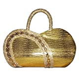 Global Era Partywear Designer Evening Embroidered Golden Clutch | Handbag | Purse | Handbags For Girls | Women | Ladies| Purse Sling Bridal For Wedding Handbags | Shoulder Bags | Purse For Women | Girls | Stylish Branded With Handle Sequined Beaded Thread | Designer Handbags | Give Stylish And Attractive Look in Casual Form, Party And Wedding Special | Best Gifts For Bridal | Best Return Gift For Girls | Ladies