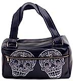 Lux DeVille Handbag Sugar Skulls Day of the Dead Purse Vegan Black Vinyl Rockabilly Punk Day Bag
