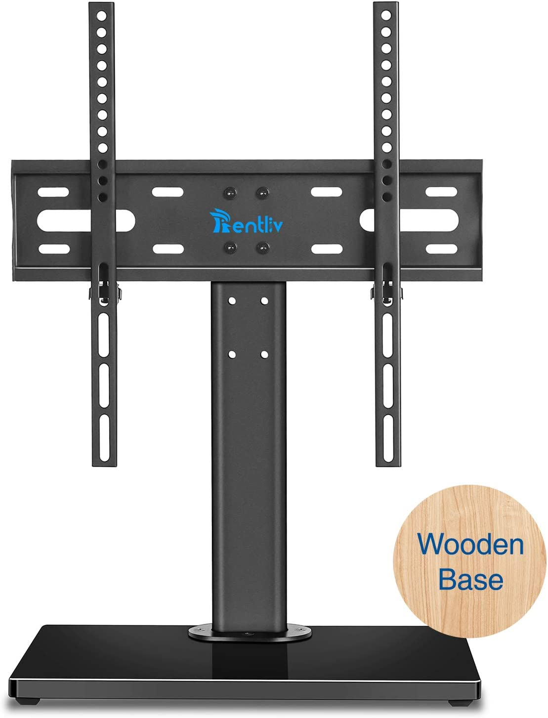 Rentliv Wooden Base Universal TV Stand- Table Top TV Base Stand for 37 to 55 inch TVs - Height Adjustable TV Mount Stand,VESA 400 x 400mm