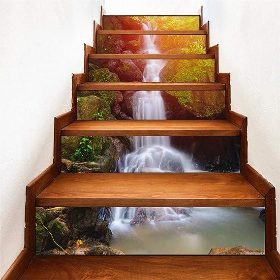 6pcs 3D Entrance Stair Risers Staircase Sticker Decal DIY Photo Mural Vinyl
