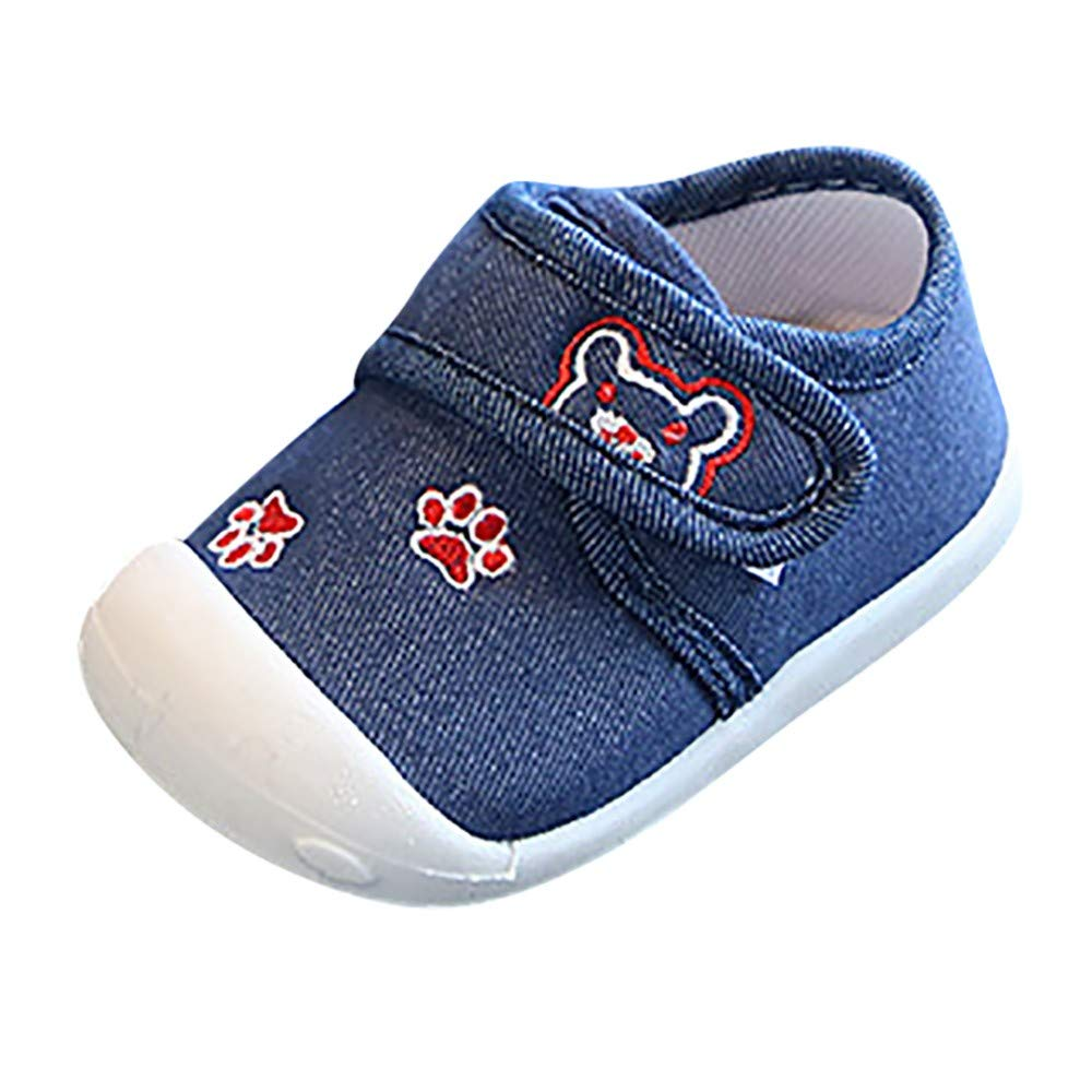 Polwer Baby Boy Girl Soft Sole Shoes Canvas First Walkers Bear Non-Slip Sneaker
