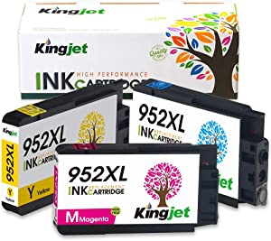 Updated in August, Kingjet Compatible Replacements for 952, 952XL Ink Cartridge Work with Officejet Pro 7720 7740 8210 8216 8702 8710 8715 8720 8725 8730 8740 Printers, 3 Pack(1C 1M 1Y)