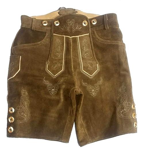 Bavarian Lederhosen Oktoberfest German Real Leather Brown with Matching Shorts
