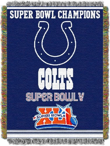 "Northwest 051 Series NFL Indianapolis Colts Commemorative Woven Tapestry Throw, 48"" x 60"", Blue"
