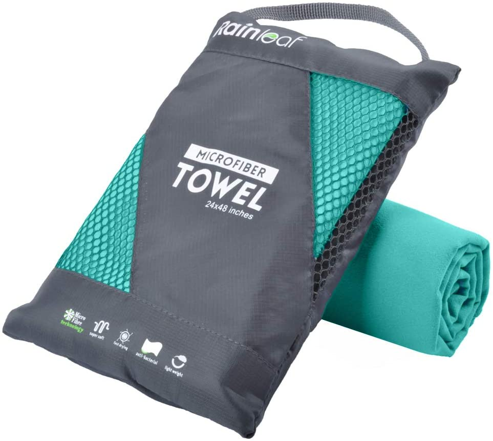Gray and blue Rainleaf microfiber towel in carry case