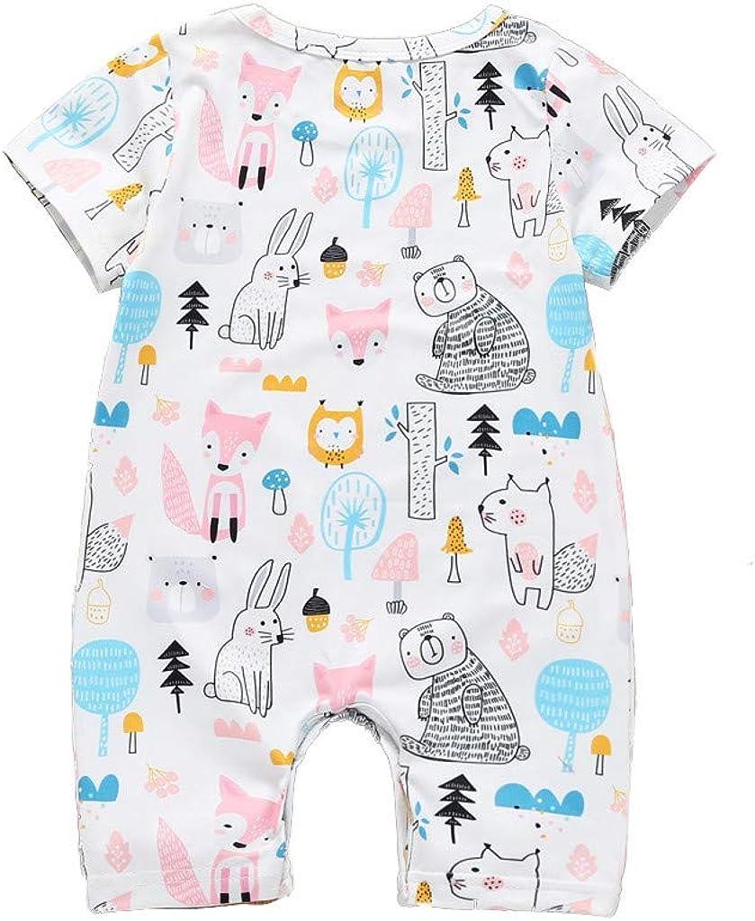 Berimaterry Bebes niños niñas Pijamas Ropa de Dormir Bodies Camiseta Bebe Monos Ropa Bebe Recien Nacido Bebé Historieta Mameluco Lindo Manga Corta Bodies Verano 0-24M Mono para bebé niños