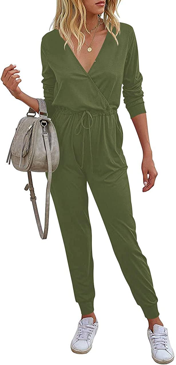 Amazon Com Anrabess Women Jumpsuits Summer Loose Deep V Neck Short Sleeve Elastic Waist Romper Playsuits With Pockets Clothing