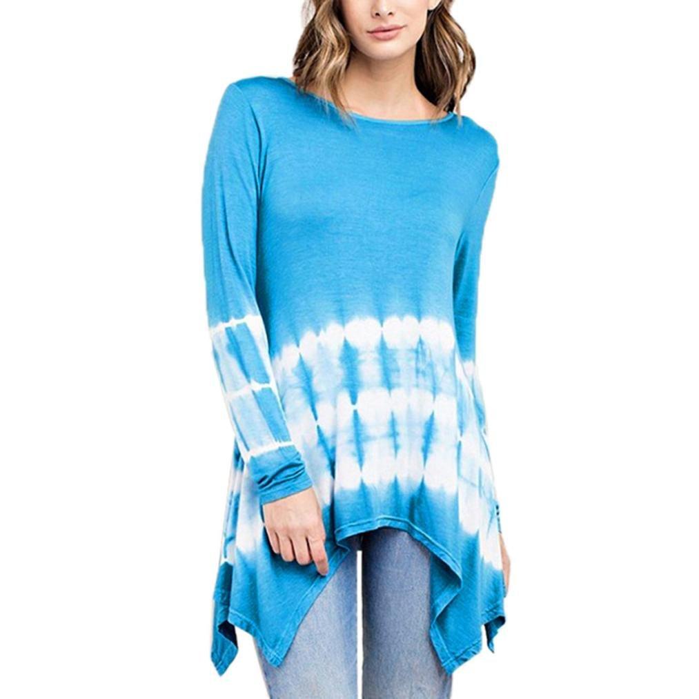 Mujer Blusa tops manga larga Casual traje de verano y Otoño,Sonnena Mujeres O-cuello gradiente de manga larga Irregular Plus Size Tops suelta camiseta blusa ...