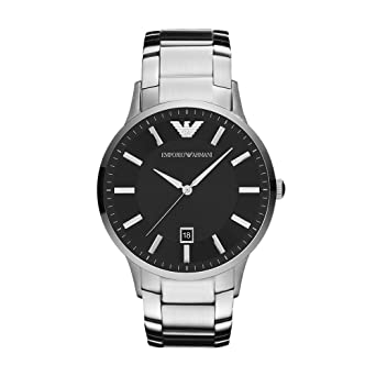 8aa832aa5 Emporio Armani Sportivo Men's Black Dial Stainless Steel Band Watch ...