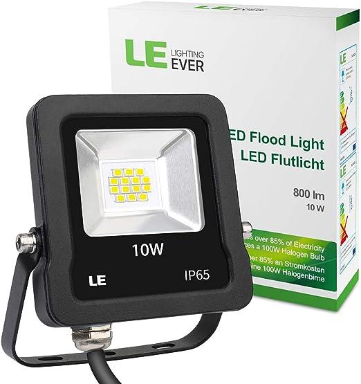 LE Foco Proyector LED de 10W, 800 Lúmenes, Blanco Frío 5000K, Resistente al agua IP65, Luces Exteriores, Ideal para Jardín, Garaje, Hotel, Patio, etc.: Amazon.es: Iluminación