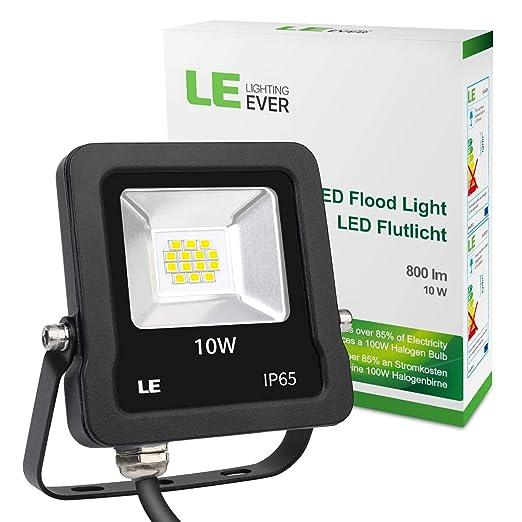 LE Foco Proyector LED de 10W, 800 Lúmenes, Blanco Frío 5000K ...