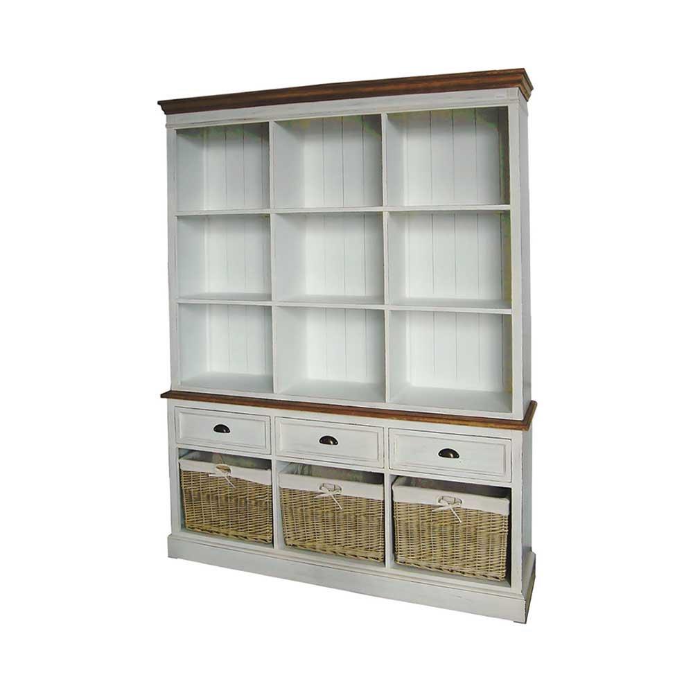 Bücherregal mit Körben Landhaus Pharao24