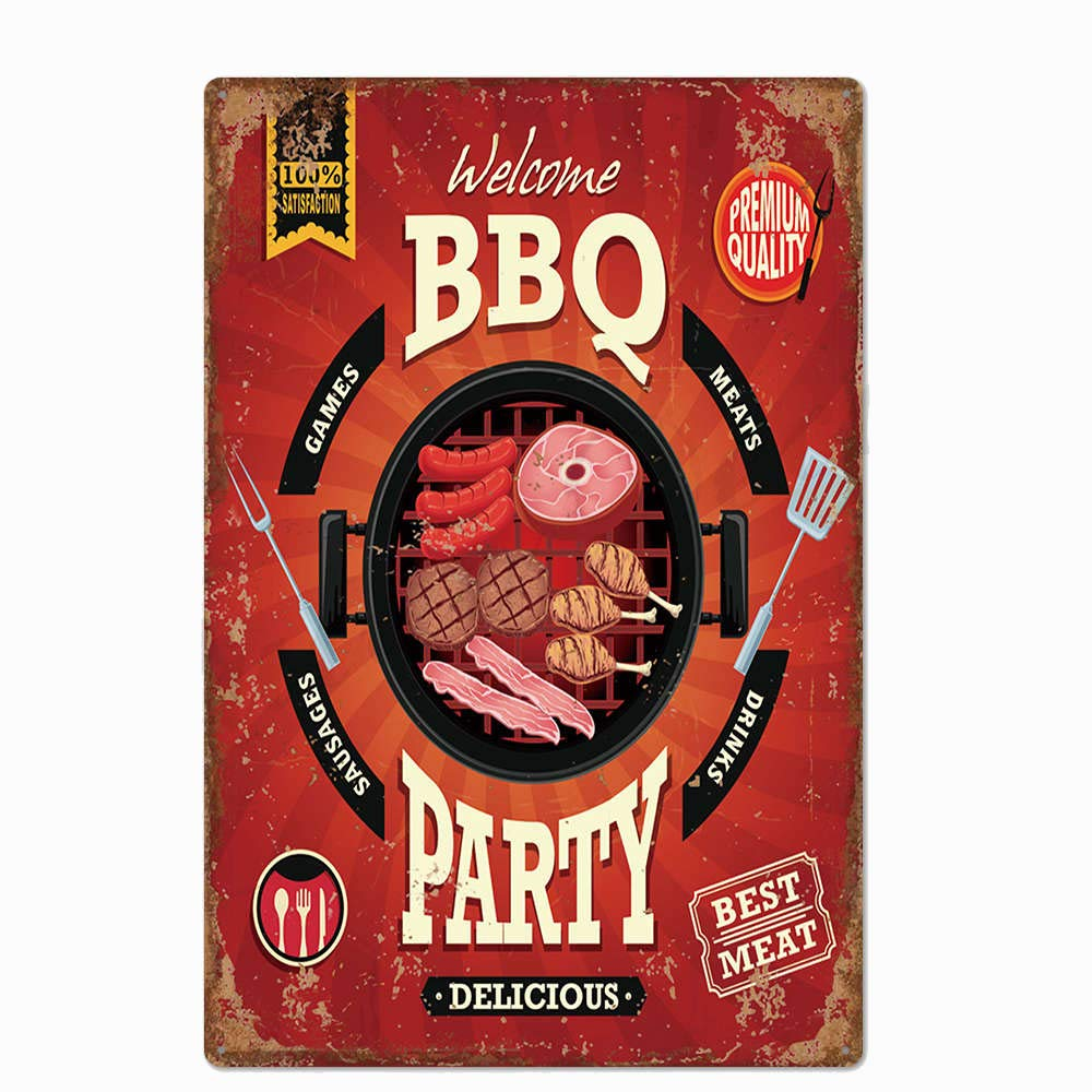 metal tin sign Welcome BBQ Party Poster Style for Bar Cafe Garage Wall Decor Retro Vintage 7.87 X 11.8 inches