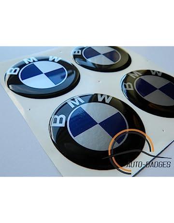 BMW Juego de 4 emblemas autoadhesivos de emblema de plástico de 60 mm para solicitar cubiertas