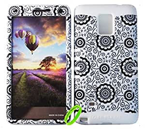 Cellphone Trendz HARD & SOFT RUBBER HYBRID ROCKER HIGH IMPACT PROTECTIVE CASE COVER for Samsung Galaxy Note 4 - Black Flower on White Design Hard Case on White Silicone