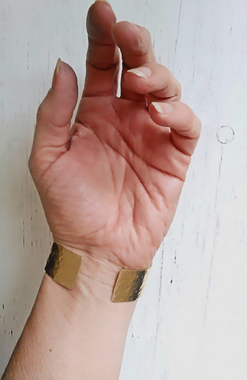 Brass 21st Anniversary Mothers Day Birthday Gift Jewelry Her Him Handmade Unisex Mens Cuff Gold Brass Wide Hammered Cuff Bracelet