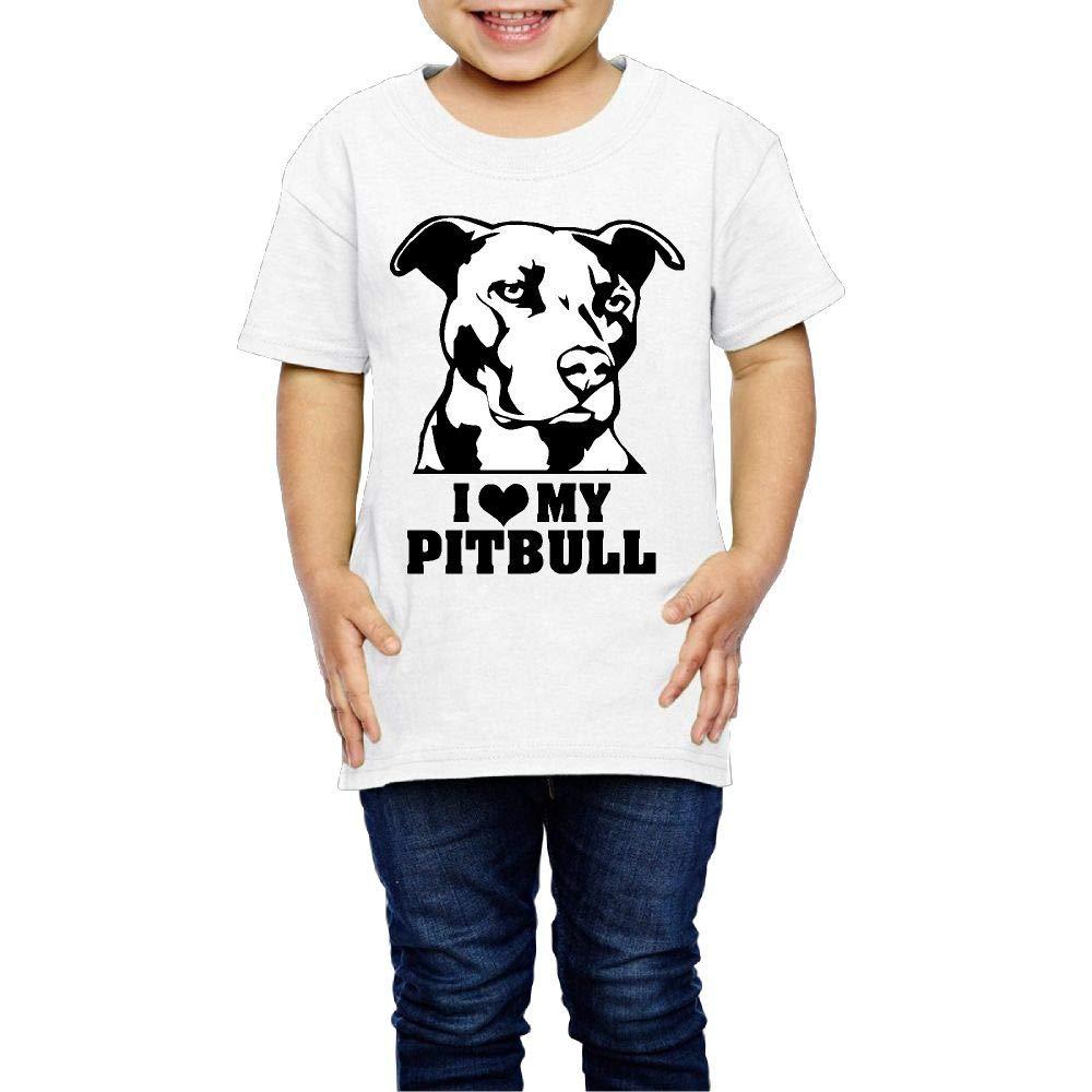I Love My Pitbull Staffy Terrier Dog 2-6 Years Old Children Short Sleeve T Shirts