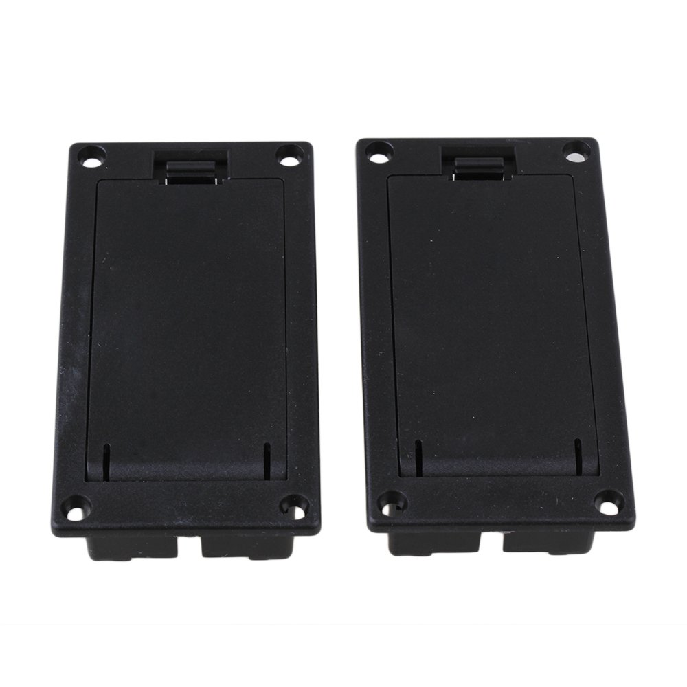 Yibuy Black Battery Holder Compartment Cover Case Box for Guitar Bass Pack of 2