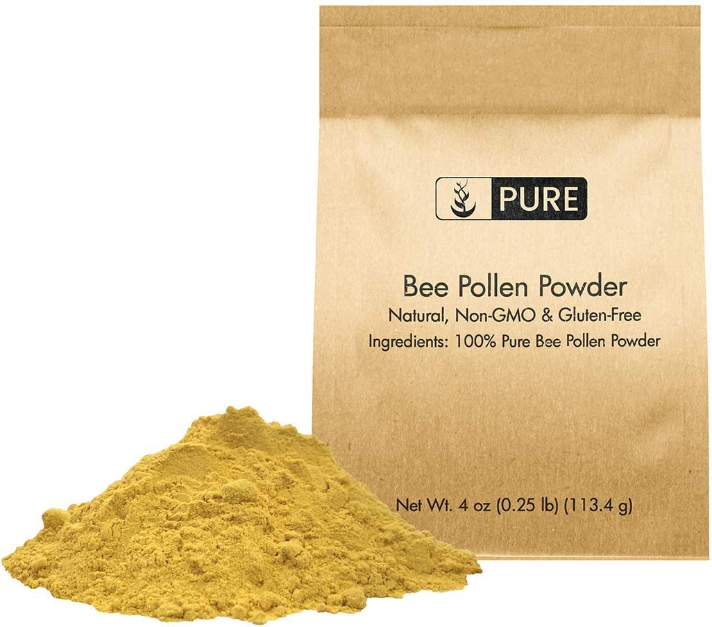 100% Natural Bee Pollen Powder   Premium Quality, Pure, Gluten-Free, Non-GMO, Raw, No Preservatives, Paleo, No Fillers or Additives, Eco-Friendly Packaging (0.25 Lb)