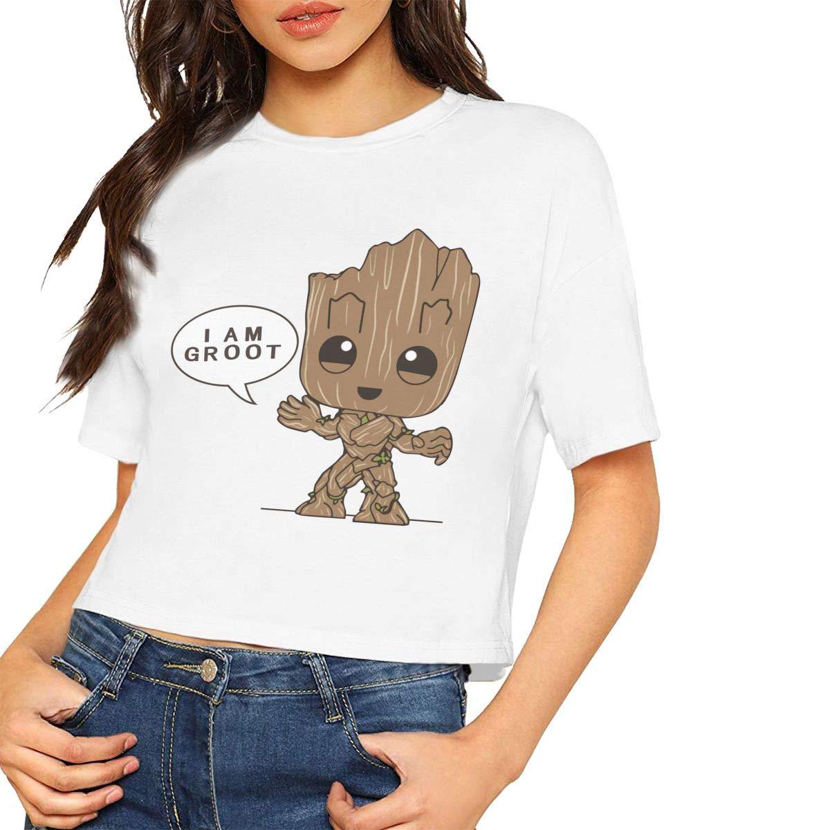 Love Lambert Womens Stylish Short Sleeve T Shirt G-root Printed Crop Top Soft