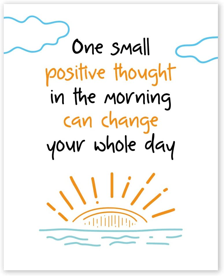 One Small Positive Thought Wall Art Prints - Unframed 8x10 in - Positive Quote for Kids Room - Motivational Cute Decor Picture with Inspirational Signs for Child
