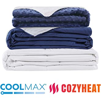 #6 Degrees of Comfort Weighted Blanket w/ 2 Duvet Covers for Hot & Cold Sleepers|