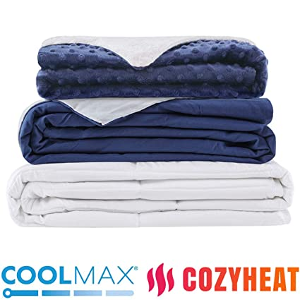 45c412bbf1 Degrees of Comfort Weighted Blanket w  2 Duvet Covers for Hot   Cold  Sleepers