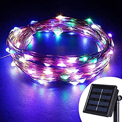 AVAWO® Solar Powered String Lights - 33ft 100 LEDs Starry Copper Wire Lights for Outdoor, Gardens, Homes, Dancing, Christmas Party(Multi color)