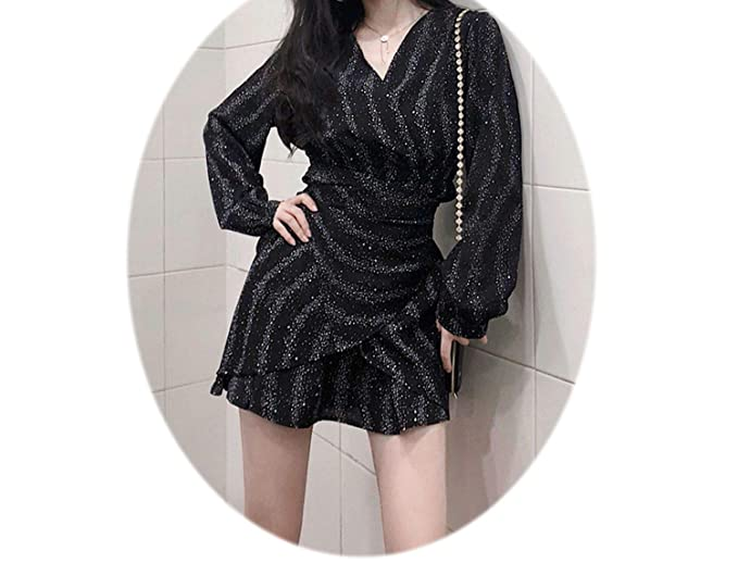 5fabe0d82a92a Autumn V-Neck Irregular Ruffled Chic Straps Starry Dress Long-Sleeve ...