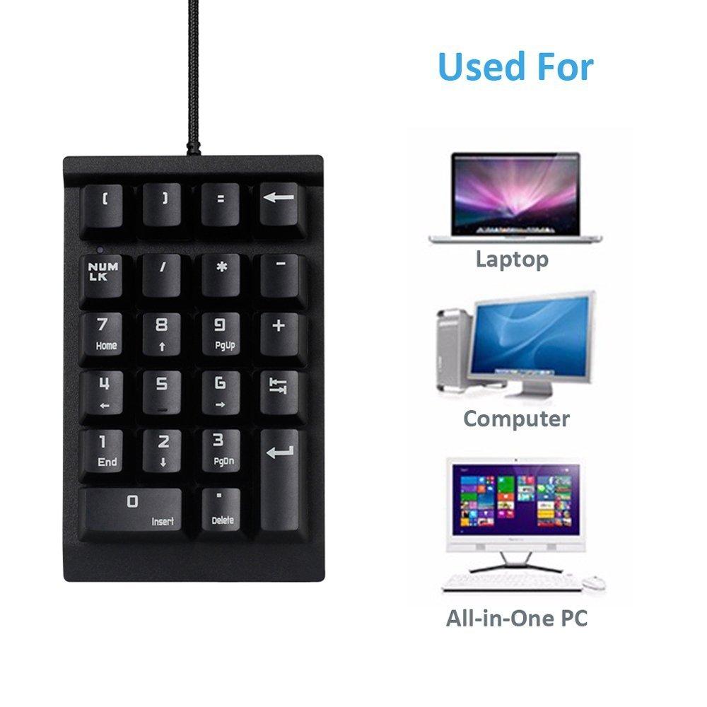 NAMEO Mechanical Numeric Keypad, USB Braid Cable Numpad 22-key Number Pad (Black)