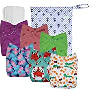 Wegreeco Washable Reusable Baby Cloth Pocket Diapers 6 pack + 6 Bamboo Inserts(with1wet bag,Girl Prints)