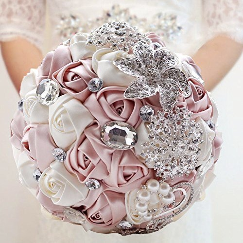 Abbie Home Advanced Customization Romantic Bride Wedding Holding Toss Bouquet Rose with Pearls and Rhinestone decorative brooches Accessories-Multi color selection (Pink) - Pink And Champagne Wedding